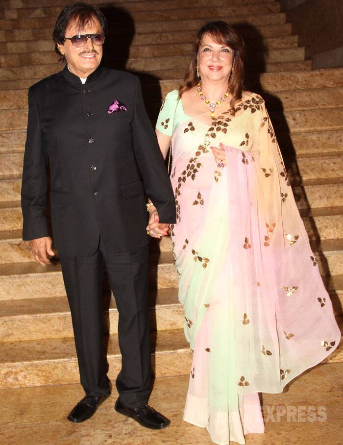 Sussanne Roshan's parents Sanjay Khan and Zarine arrived hand-in-hand. (Source: Varinder Chawla)