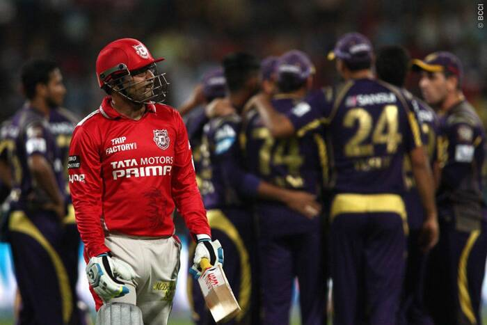 KKR bowlers backed their captain's decision to bowl first as Umesh Yadav got the important scalp of Virender Sehwag, the centurion from the last match, in the fourth over of the KXIP innings. Sehwag scored a 10-ball seven. (Source: BCCI/IPL)