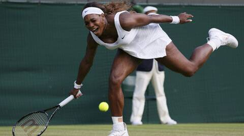 Serena Williams reacts as she fails to reach a shot during her women's singles tennis match against Alize Cornet. (Source: Reuters)