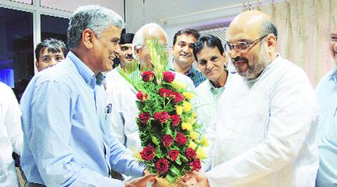 Amit Shah after being elected in Ahmedabad Friday. (Source:Bhavesh Ravat)