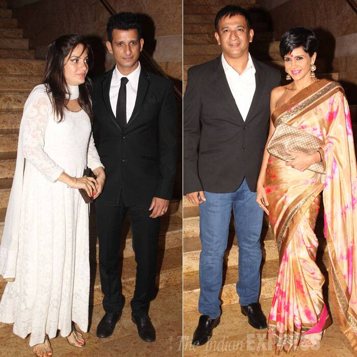 Sharman Joshi was with his wife Prerana, while Mandira Bedi was sexy in a sari as she arrived with husband Raj Kaushal. (Source: Varinder Chawla)