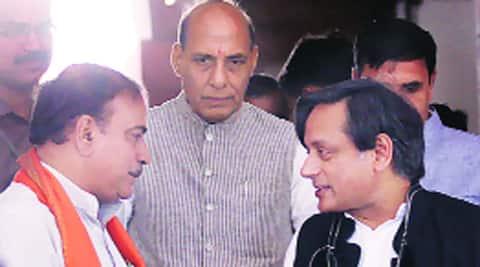 Shashi Tharoor, Rajnath Singh, Ananth Kumar in Parliament, Wednesday. Source: Prem Nath Pandey