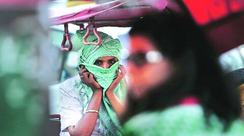 A rickshaw driver in the capital on Monday. (Source: Express photo by Amit Mehra)