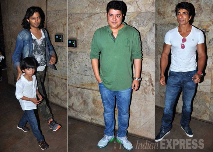 Farah Khan's husband Shirish Kunder, 'Humshakals' director Sajid Khan and Sonu Sood at the screening. (Source: Varinder Chawla)