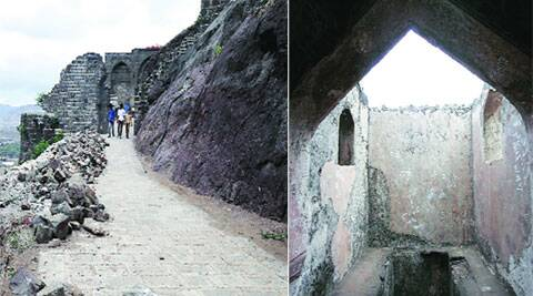 The walls near Pir gate are broken (L), Walls next to the birthplace of Chattrapati Shivaji Maharaj are covered with graffiti. Source: Arul Horizon