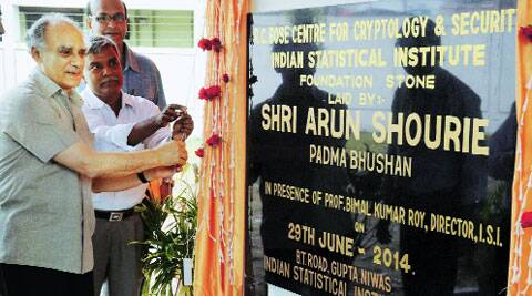 Former Union minister Arun Shourie lays the foundation stone of the new building of Indian Statistical Institute  as ISI director Prof Bimal K Roy looks on, in Kolkata on Sunday.