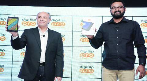 Flipkart VP retail Michael Adnani and senior director, retail, Pradeep Doble, at Digiflip Pro XT 712 launch.