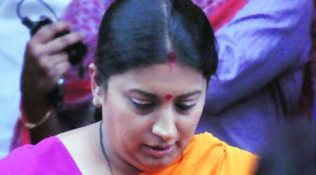 Smriti Irani at the Parliament House in New Delhi on Wednesday. (Express Photo: Prem Nath Pandey)