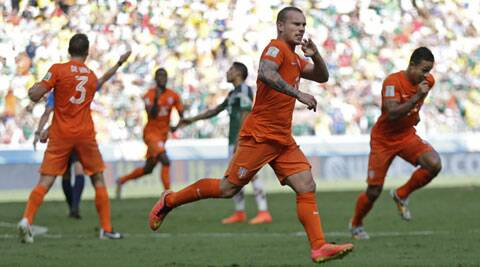 Wesley Sneijder pulled the Dutch level with a fierce drive, seemingly forcing the match into extra time. (Source; AP)