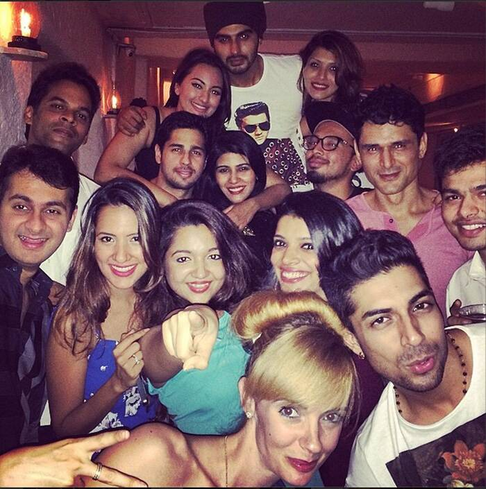 "Bollywood actress Sonakshi Sinha ushered in her 27th birthday at a posh club in Mumbai. The actress invited her friends from the film fraternity – Arjun Kapor, Vikramaditya Motwane, Sidharth Malhotra among others for the celebrations. Sonakshi poses with her entire 'jingbang'. The actress said, ""Thanks for making it special you guys."" (Source: Instagram)"
