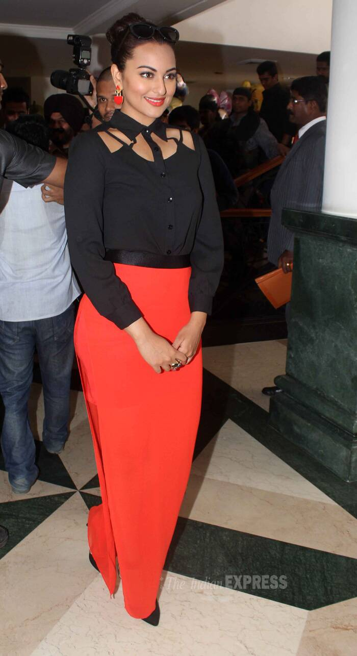 The actress was classy in a cutout black top with an orange skirt. (Source: Varinder Chawla)