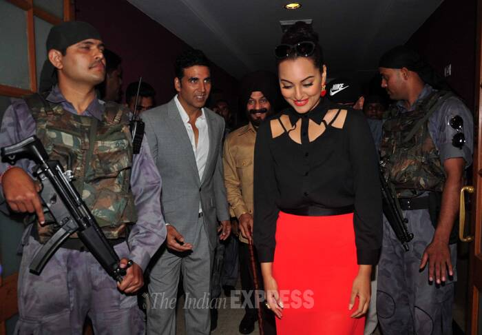 Sonakshi and Akshay  make an entry along with M S Bitta. (Source: Varinder Chawla)
