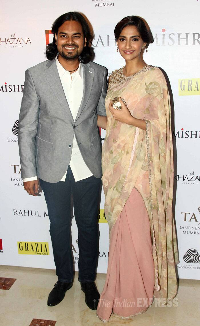 Sonam Kapoor is all smiles as she poses with designer Rahul Mishra. (Source: Varinder Chawla)