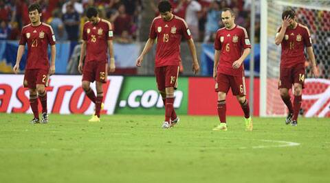 Spain became the first team to crash out of the 2014 World Cup in Brazil. (Source: Reuters)