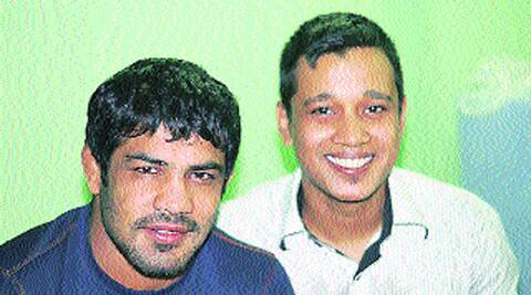 Filmmaker Von Saxena (right) with wrestler  Sushil Kumar.