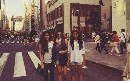 Sridevi in hot pants during outing with daughters Jahnvi, Khushi in Japan