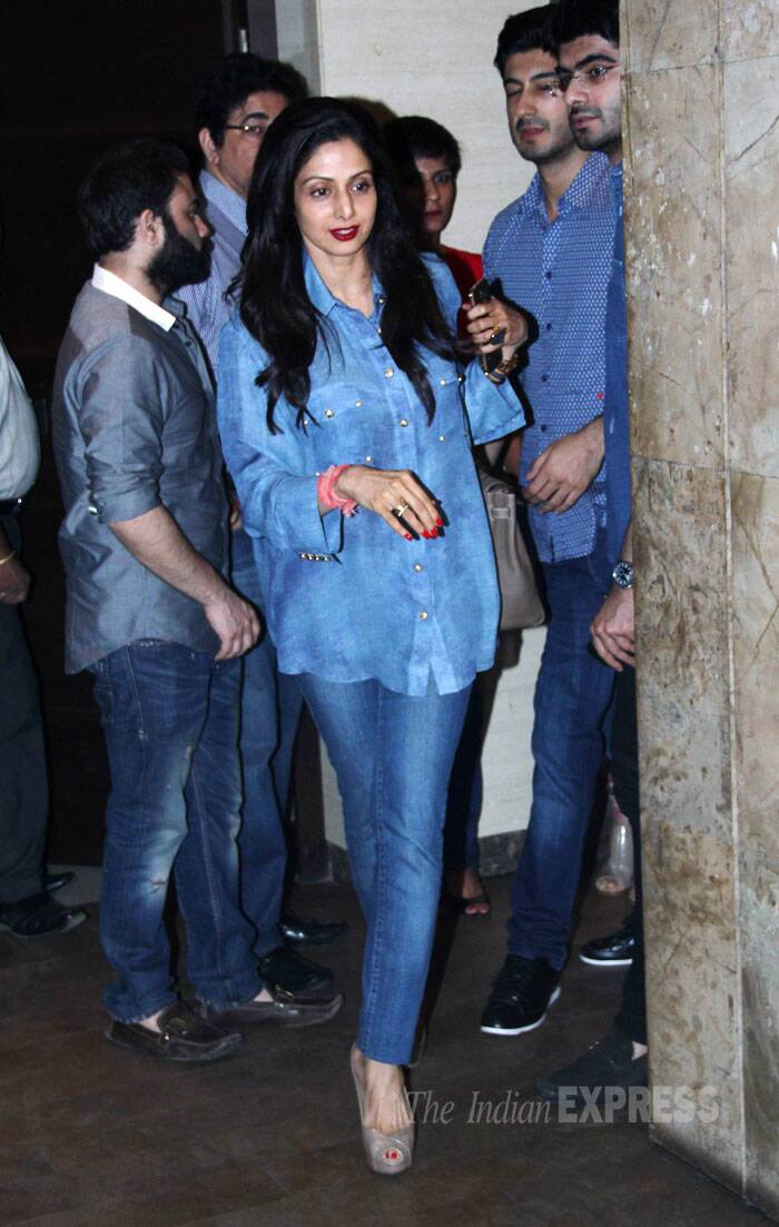 Sridevi was cool in an all-denim avatar.