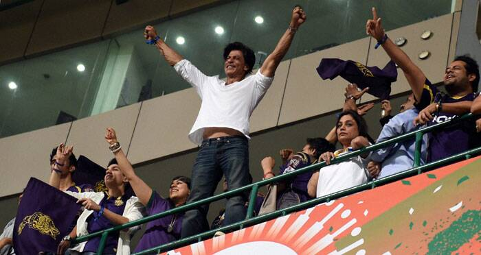 Wait, SRK broke free after Piyush Chawla hit the winning runs and rest, they say, is history. He was all around. Taking the victory lap, standing on the railing, patting his players' back (Source: PTI)
