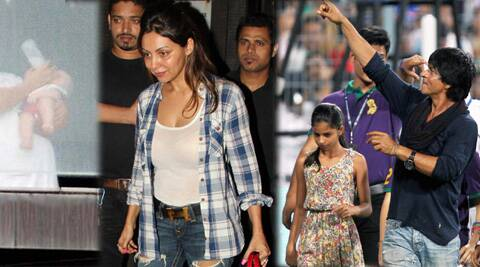 "Shah Rukh Khan said, ""Wife is babysitting lil one, miss her. But my army of lil girls with me. Ready steady po."""