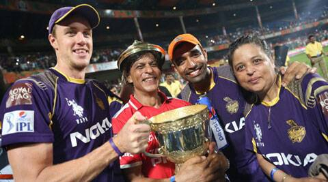 Shah Rukh Khan is all smiles as he poses with the cup (Source: PTI)