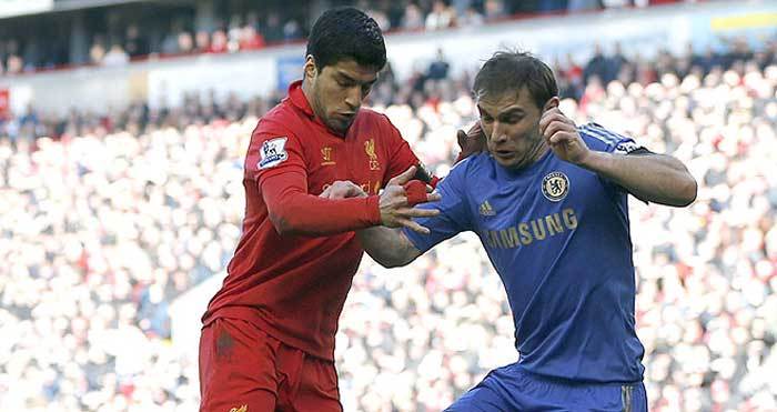 Don't bite more than you can chew. Suarez was fined and handed a 10 match ban for biting into the arm of Chelsea's Branislav Ivanovic in April 2013. (Source: Reuters)
