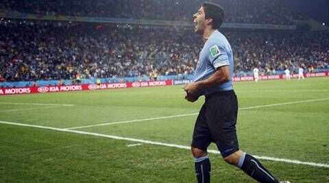 Suarez, having been restored to the lineup after recovering from knee surgery, scored twice in Uruguay's 2-1 over England in Sao Paulo. (Source; Reuters)
