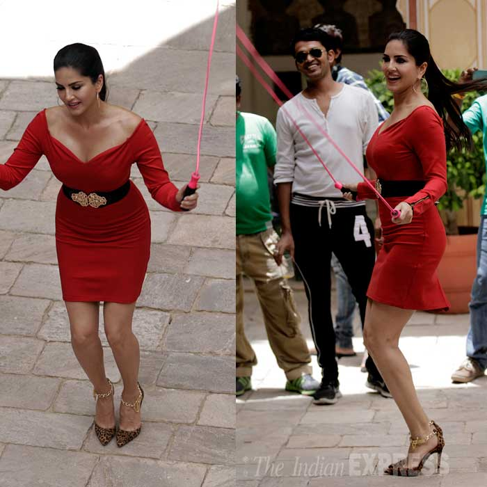 The closed-door shoot at Splitsvilla does not accommodate fans, Sunny Leone has worked her charms on both the contestants and the crew.  In between the shoots, Sunny takes time off to play hopscotch. (Source: Express Photo by Praveen Khanna)