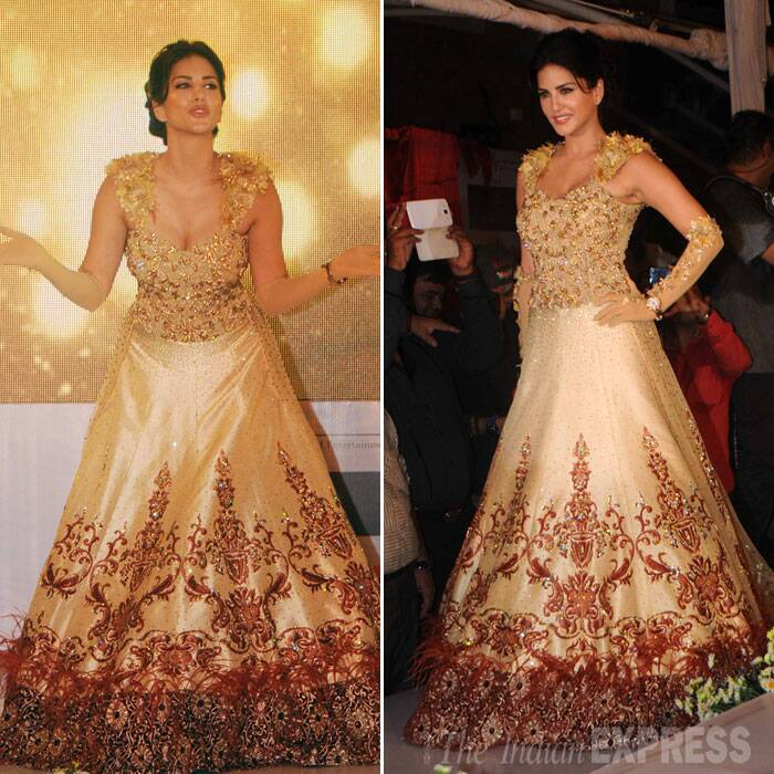 The 'Ragini MMS 2' actress showcased a gorgeous gold gown from Rohit Verma's bridal collection. Rohit and Sunny Leone have been friends since 'Bigg Boss' days. (Source: Varinder Chawla)