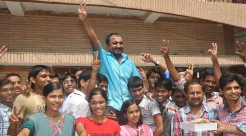 Super 30 students along with founder Anand Kumar after the results of JEE Advanced were declared on Thursday. (Courtesy: Anand Kumar)