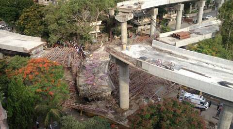 an under construction over bridge collapsed in Athvalines area of the city on Tuesday morning at around 7.30. (Source: Express Photo)