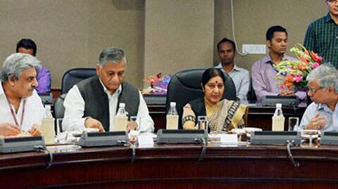 External Affairs Minister Sushma Swaraj with MoS External Affairs, General (Retd.) V.K. Singh during a meeting to discuss the problems faced by Indians workers in Gulf countries, in New Delhi on Sunday. (Source: PTI)
