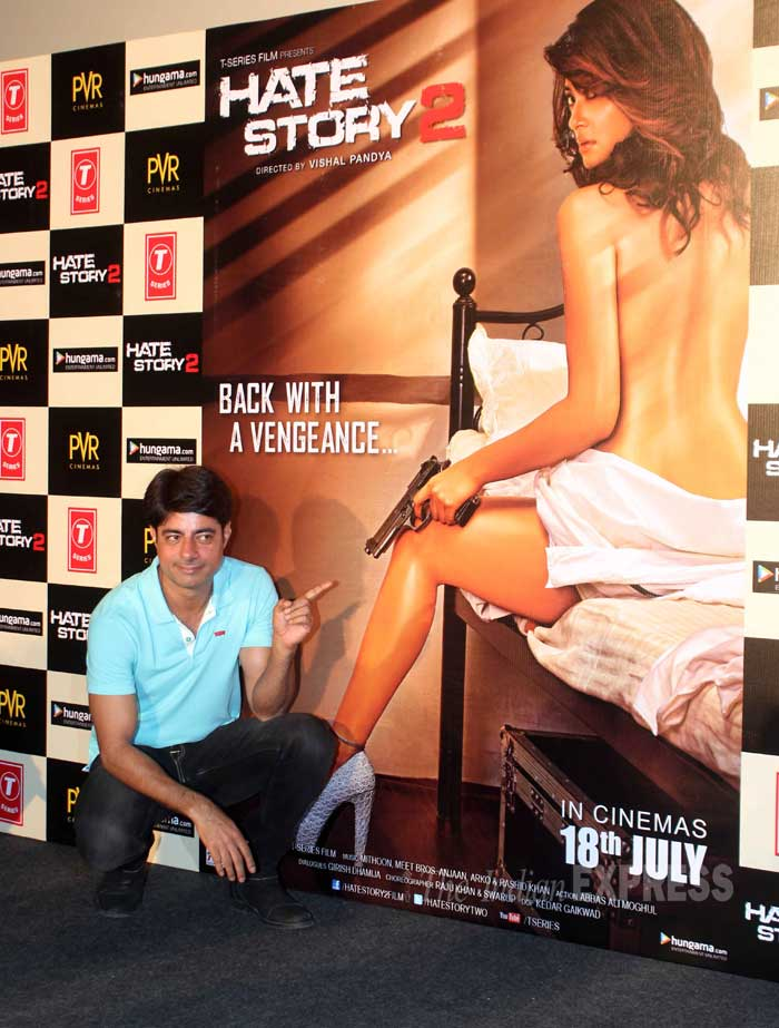 Sushant Singh, who plays the villain in the film, strikes a pose before the sexy poster. (Source: Varinder Chawla)