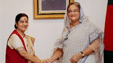 External Affairs Minister Sushma Swaraj meets Prime Minister of Bangladesh, Sheikh Hasina in Dhaka on Thursday. (Source: PTI)