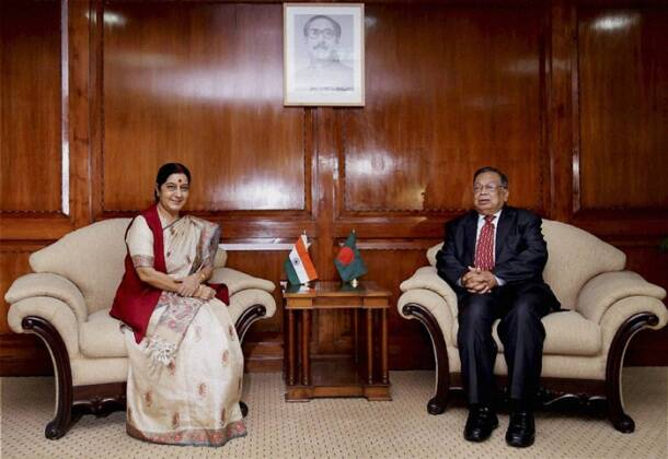 Sushma Swaraj hold talks with Bangladesh counterpart, PM Sheikh Hasina