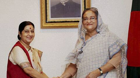 External Affairs Minister Sushma Swaraj meets Prime Minister of Bangladesh, Sheikh Hasina in Dhaka. (Source: PTI)