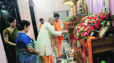 External Affairs Minister Sushma Swaraj during a visit to Dhakeshwari Temple in Dhaka on Friday. (source: PTI)