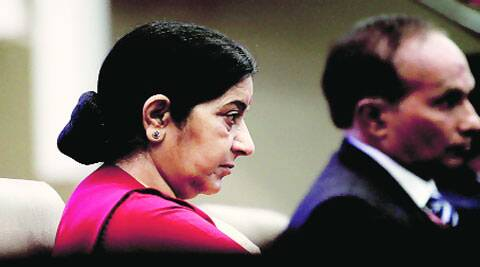 Sushma Swaraj at an event in New Delhi on Tuesday.