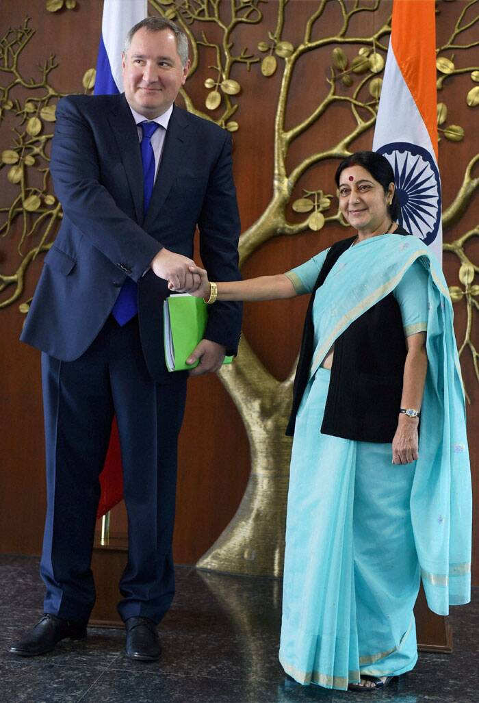 In first high-level engagement between India and Russia after NDA government came to power, External Affairs Minister Sushma Swaraj and Russian Deputy Prime Minister Dmitry O Rogozin on Wednesday held extensive talks on crucial bilateral issues including trade and energy security. <br /> Sushma Swaraj meets Dmitry O Rogozin in New Delhi on Wednesday. (Source: PTI)