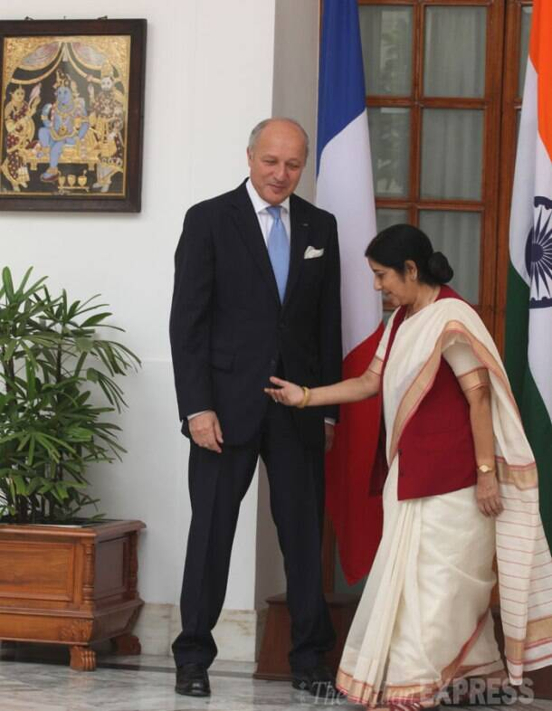 Sushma Swaraj meets French Foreign Minister Laurent Fabius