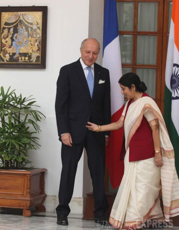 Sushma Swaraj meets French Foreign Minister Laurent Fabius