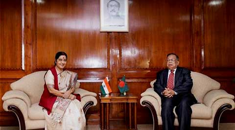 External Affairs Minister Sushma Swaraj with her Bangladeshi counterpart Abul Hassan Mahmood Ali in Dhaka on Thursday. (PTI)