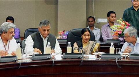 External Affairs Minister Sushma Swaraj with MoS External Affairs, General (Retd.) V.K. Singh during a meeting to discuss the problems faced by Indians workers in Gulf countries, in New Delhi on Sunday. Source: PTI Photo
