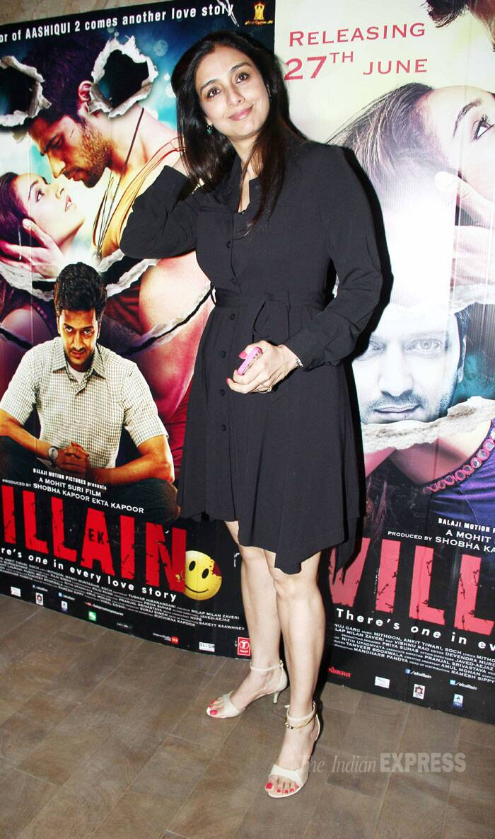 Tabu stepped out in a belted black dress with ankle-strap sandals. (Source: Varinder Chawla)