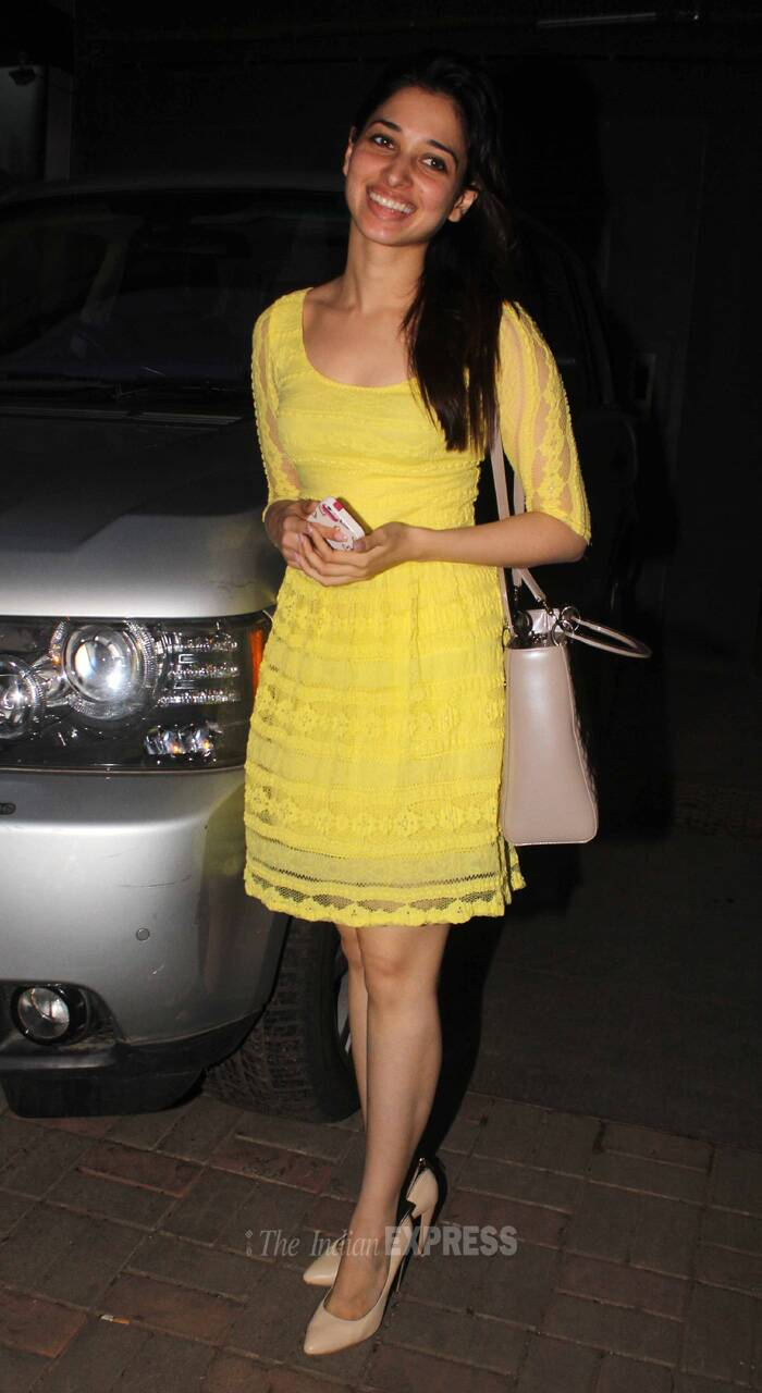 Tamannah was dressed in a pretty yellow lace dress with nude pumps. (Source: Varinder Chawla)