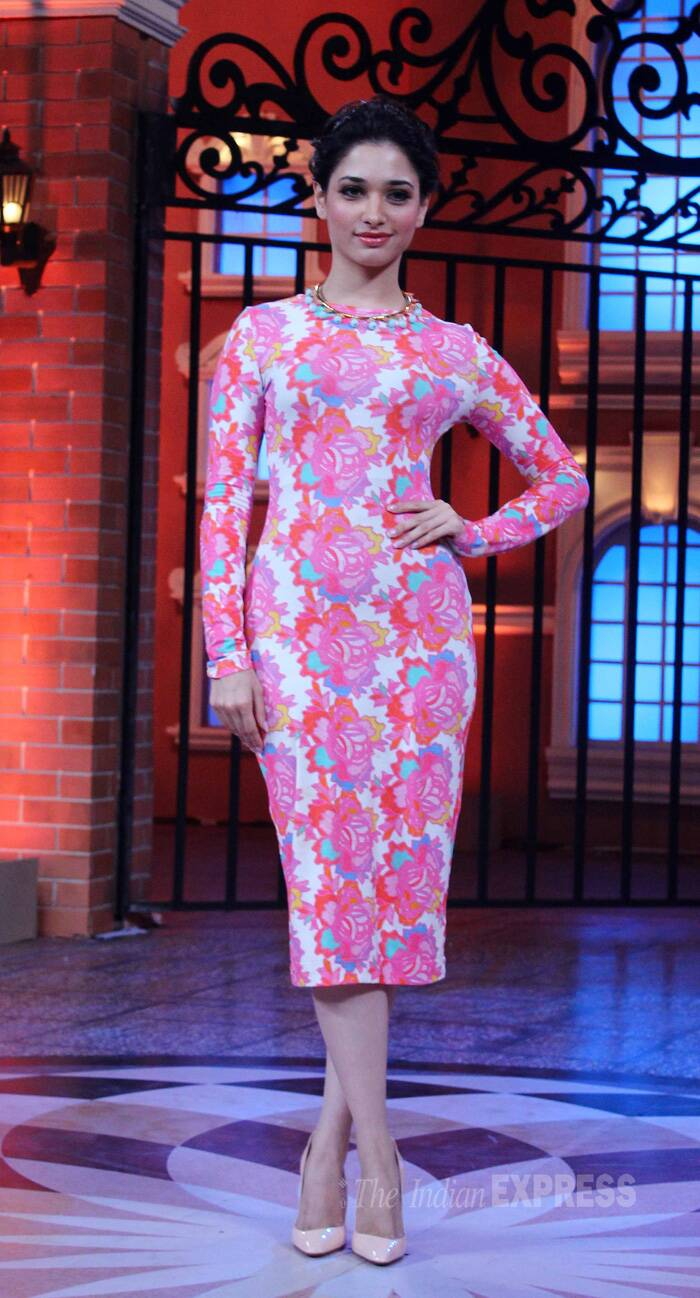 Tamannah Bhatia looked pretty in a Henry Holland floral number with a necklace and nude coloured Louboutin pumps. (Source: Varinder Chawla)
