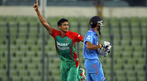 Bangladesh's Taskin Ahmed, who took five wickets on debut against India in the second ODI, again shone with the ball with a clinical spell of 2/15. (Source: AP)