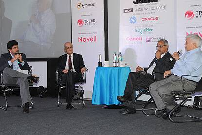 L to R: Anant Goenka, Wholetime Director & Head – New Media, The Indian Express Ltd, R Chandrashekhar, President, Nasscom, J Satyanarayana, Secretary, DeitY (retd), and RS Sharma, Secretary, DeitY, at the Express Tech Sabha.
