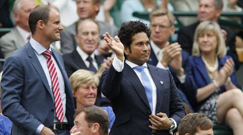 Tendulkar seen here with former England captain Andrew Strauss during the match between Rafael Nadal and  Mikhail Kukushkin. (Source: AP)