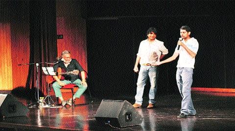 (From left) Rahul Ram, Sanjay Rajoura and Varun Grover (Source: Express photos)