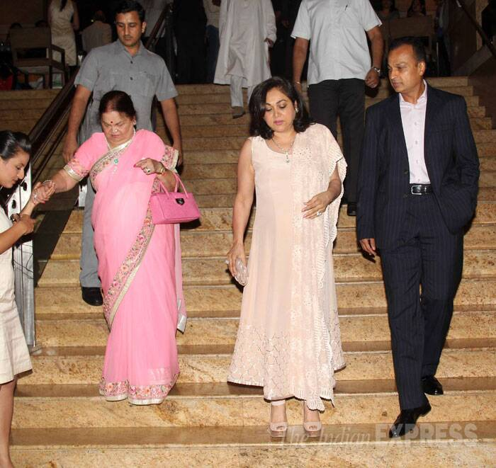 Industrialist Anil Ambani arrives with wife Tina and mother Kokilaben. (Source: Varinder Chawla)